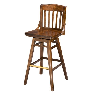 Chesebrough Beechwood School House Wood Seat Swivel Bar Stool