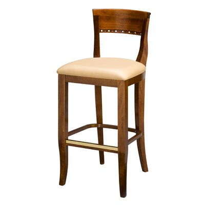 Italian Wood 32 inch Bar Stool Upholstery: Ranchide Wine Vinyl (Grade 3), Kickplate: No Kickplate, Base Finish: Dark Walnut