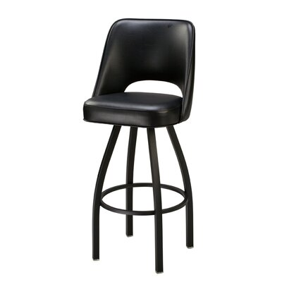 Swivel Bar Stool Seat Height: 32, Finish: Chrome, Upholstery: Black