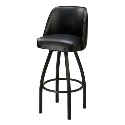 Swivel Bar Stool Upholstery: 32 inch, Upholstery: Dark Walnut Wood, Upholstery: Black