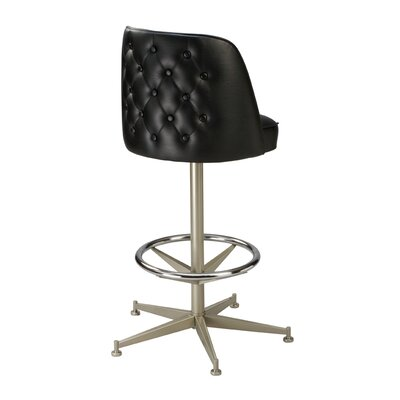 Swivel Bar Stool Finish: Anodized Nickel, Seat Height: 26 inch, Upholstery: Dark Walnut
