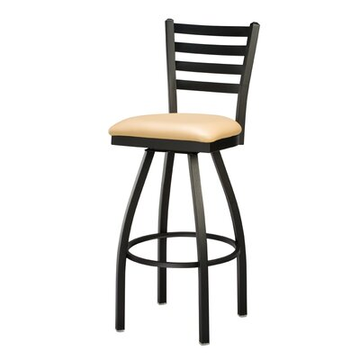 Swivel Bar Stool Seat Height: 24, Finish: Clear, Upholstery: Premier Black