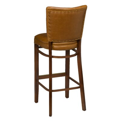 Chesebrough Beechwood Upholstered Seat Bar Stool Seat Height: 31