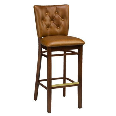 Annamaria Beechwood Button Tufted Bar Stool Seat Height: 31