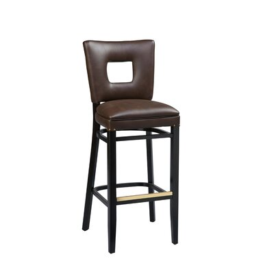 Dobbs Beechwood Square Open Back Bar Stool with Upholstered Seat Seat Height: 26