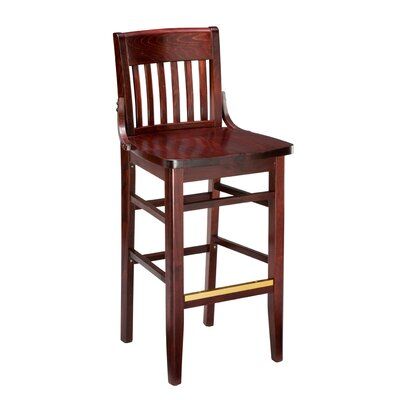 Amoroso Beechwood School House Wood Seat Bar Stool Seat Height: 26