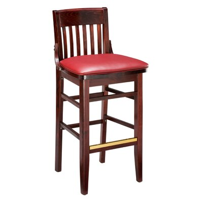 Amoroso Traditional Beechwood School House Upholstered Seat Bar Stool Seat Height: 31