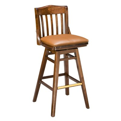 Chesebrough Beechwood School House Upholstered Seat Swivel Bar Stool