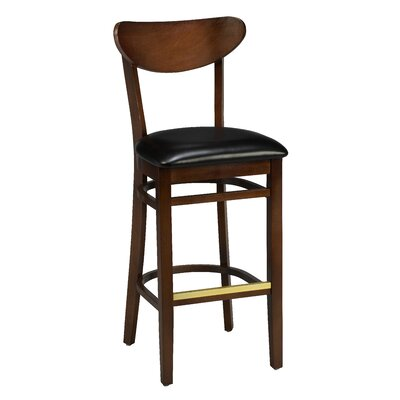 Amoroso Traditional Beechwood Moon Shape Back Upholstered Seat Bar Stool Seat Height: 31