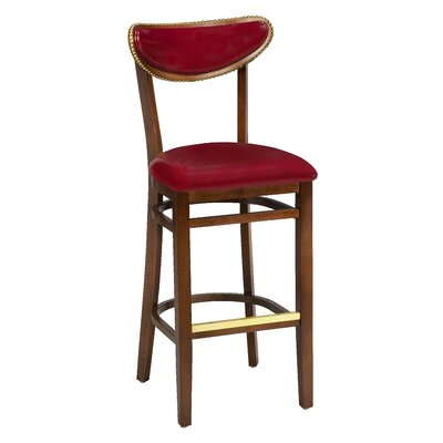 Amoroso Beechwood Moon Shape Back Upholstered Seat Bar Stool Seat Height: 26