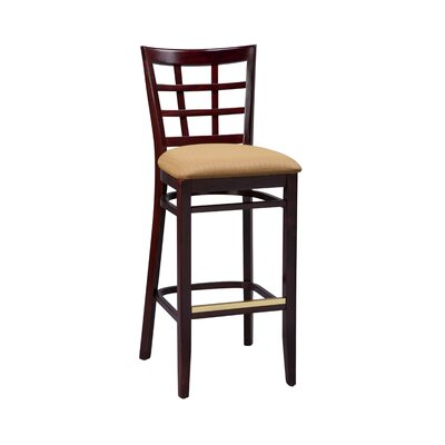 Amoroso Beechwood Lattice Back Upholstered Seat Bar Stool Seat Height: 26