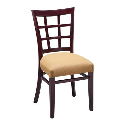Amoroso Beechwood Lattice Back Seat Upholstered Dining Chair
