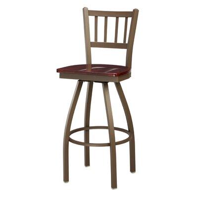 """Regal Jailhouse 30"""" Swivel Bar Stool - Height: 26"""", Frame Finish: Bronze, Upholstery Color: Ranchide Wine Vinyl (Grade 3)"""