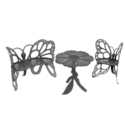 Butterfly 3 Piece Bench Seating Group Set Finish: Black