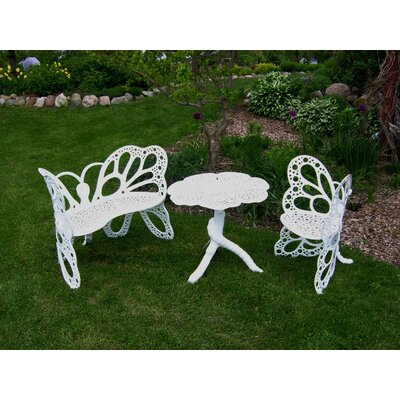 Butterfly 3 Piece Bench Seating Group Set Finish: White