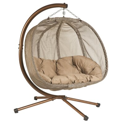 Pumpkin Swing Chair with Stand Color: Bark Brown