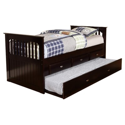 Twin Rake Slat Bed with Trundle Finish: Espresso