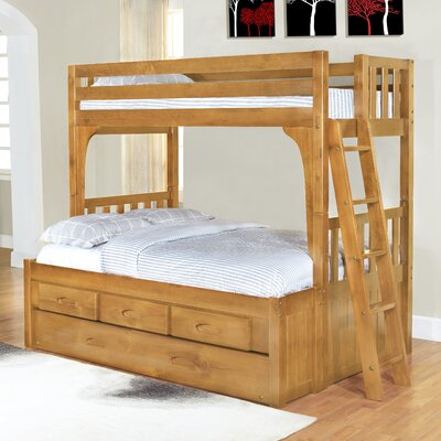 Discovery World Furniture Convertible Twin over Full Three Drawer Bunk Bed with Trundle Bed - Finish: Honey at Sears.com