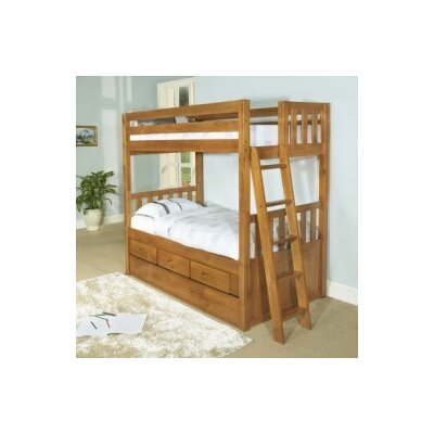 Discovery World Furniture Convertible Twin over Twin Three Drawer Bunk Bed with Trundle Bed - Finish: Honey at Sears.com