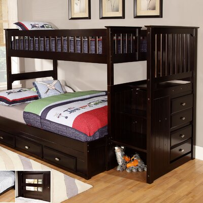 Discovery World Furniture Twin over Full Staircase Bunk Bed 2914-T/F