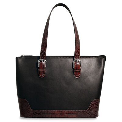 Venezia Large Business Tote in Black / Brown