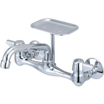 Double Handle Wall Mounted Kitchen Faucet with Soap Dish