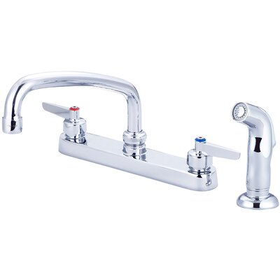 Cast Brass Double Handle Kitchen Faucet with Side Spray