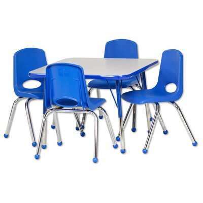 5 Piece Square Activity Table & Chair Set Leg Type: Chunky with Ball Glide, Top Finish: Gray, Side Finish: Blue