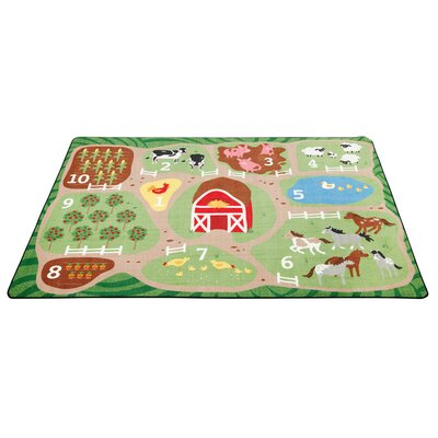 Count the Farm Activity Green/Brown Area Rug Size: 9 x 12