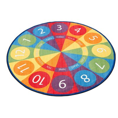Tick-Tock Clock Activity Blue/Green Area Rug Size: Round 12