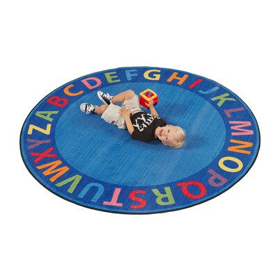 A-Z Circle Time Seating Blue Area Rug Size: Round 12