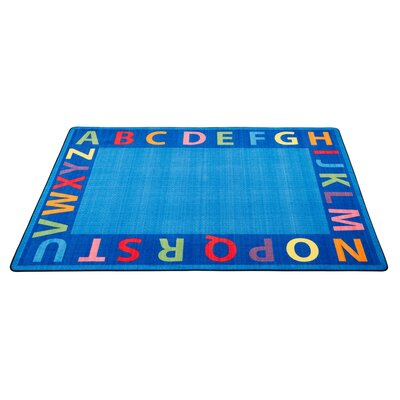 A-Z Circle Time Seating Blue Area Rug Size: 9 x 12