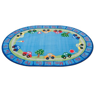 All Around Cars Alphabet Blue Area Rug Size: Oval 6 x 9