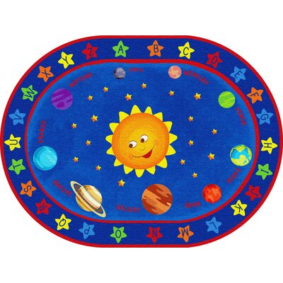 Out of This World Alphabet Blue Area Rug Size: Oval 6 x 9