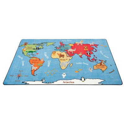 Animals of the World Activity Blue Area Rug Size: 6 x 9