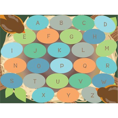 Robins Eggs Alphabet Seating Brown/Green Area Rug Size: 6 x 9