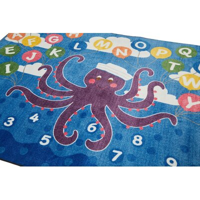 Olive the Octopus Blue Area Rug Rug Size: 9 x 12