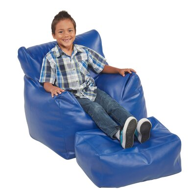 Bean Bag Chair and Ottoman Upholstery: Blue