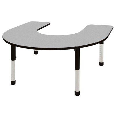 "66"" x 60"" Horseshoe Activity Table Leg Type: Chunky Leg, Side Finish: Navy ELR-14103-GNV-C"
