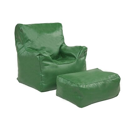 Bean Bag Chair and Ottoman Upholstery: Green
