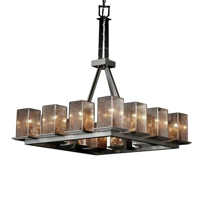 Luzerne 12-Light Shaded Chandelier Shade Color: Weave, Metal Finish: Matte Black