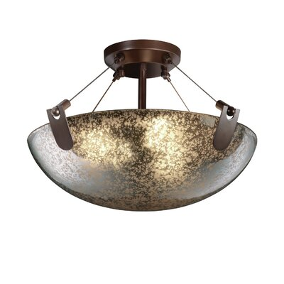 Miguelangel 3-Light Semi Flush Mount Shade Color: Mercury, Finish: Dark Bronze