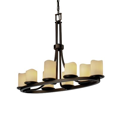 Dakota CandleAria 8 Light Oval Chandelier Shade Option: Cylinder with Melted Rim, Shade Color: Cream, Metal Finish: Dark Bronze