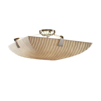 Thora 6-Light Square Bowl Semi Flush Mount Impression: Waves, Finish: Brushed Nickel