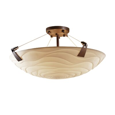 Thora Transitional 6-Light Square Bowl Semi Flush Mount Impression: Waves, Finish: Dark Bronze