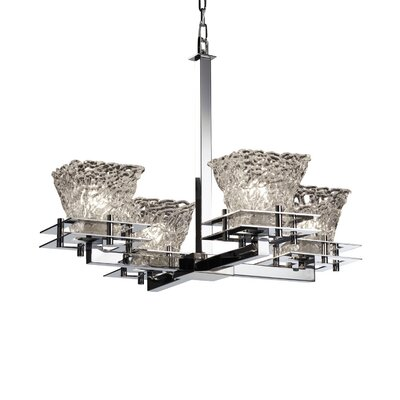 Kelli 4-Light Shaded Chandelier Base Finish: Brushed Nickel