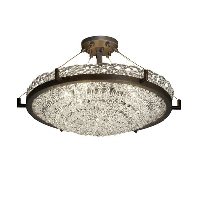 Kelli 6-Light Semi Flush Mount Shade Color: Lace, Finish: Dark Bronze