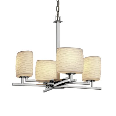 Hannah 4-Light Shaded Chandelier Metal Finish: Nickel, Impressions: Waves
