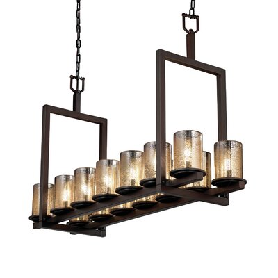 Leland 14-Light Drum Pendant Shade Color: Mercury, Metal Finish: Dark Bronze