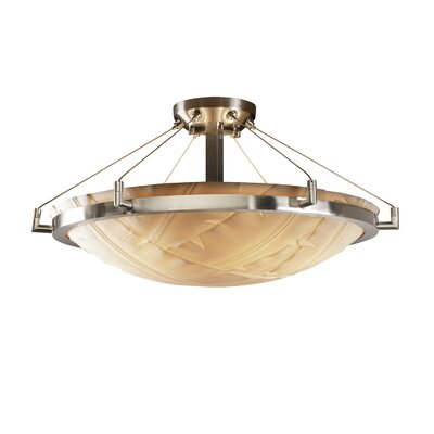Thora Transitional 6-Light Semi Flush Mount Impression: Banana Leaf, Finish: Brushed Nickel